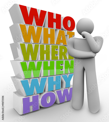 Thinker Person Asks Questions Who What Where When Why How
