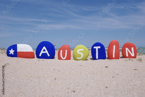 Austin, souvenir of the capital of Texas state on stones