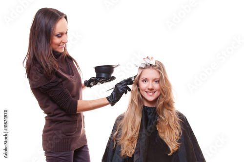 young stylist and blonde woman