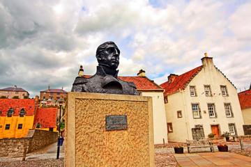 Streets of Culross, Fife, Scotland.  A bust of Thomas Cochrane.