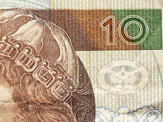Extreme closeup of 10 zloty note. Polish currency