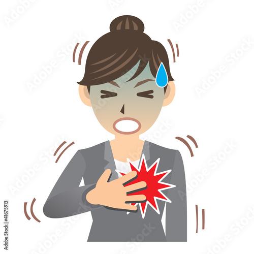 OL C 病気 イラスト 心筋梗塞 心臓 動悸