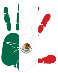mexico flag in hand print