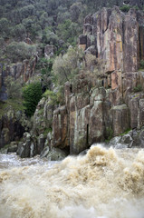 Floodwater in river gorge, South Esk River, Launceston