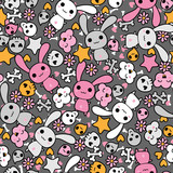Seamless pattern with doodle. Vector kawaii illustration. poster