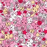 Fototapety Seamless pattern with doodle. Vector kawaii illustration.