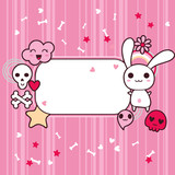 Funny background with doodle. Vector kawaii illustration. poster