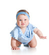 funny pretty baby girl crawling on floor