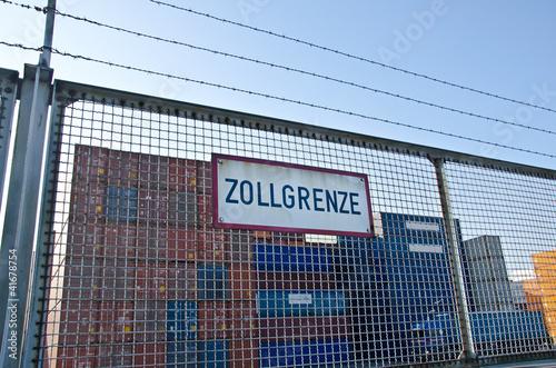 Foto Spatwand Poort Zollgrenze Container