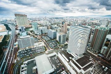 Fukuoka city skyscrapers seen from high above