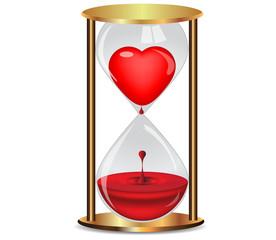 Golden hourglass with heart.Vector