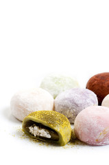 Japanese confectionery, mochi on white background