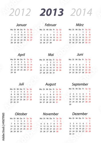 Vektor: Kalender 2013 DIN-Format