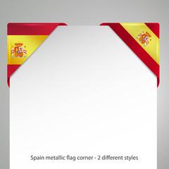 spanien metallic vector flag corner