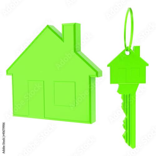 Öko Haus und Schlüssel grün