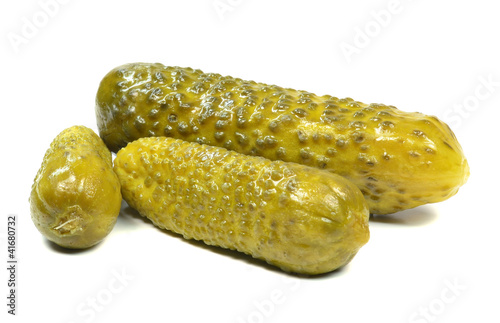 Pickled gherkins on a white background