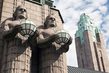 Twins and clock tower in the Helsinki Railway station. Finland.