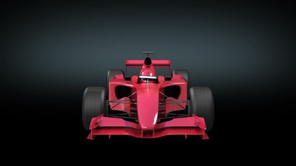 Formula One red bolide rotating on black background.