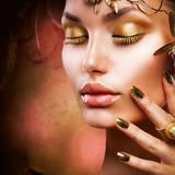 Gold Makeup. Fashion Girl Portrait