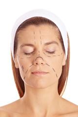 Frau vor Schönheitsoperation