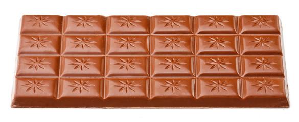 Milk chocolate bar isolated on white background.