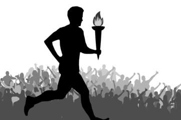 Läufer mit olympischer Flamme