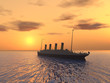 Ocean Liner with Sunset