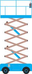 A Blue Scissor Lift Platform extended
