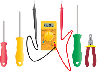 An Elecrical Multimeter and Electricians Tools