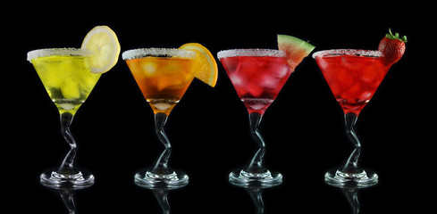 yellow, orange, pink and red martini drinks