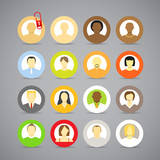 Collection of vector account icons of men and women. Different n
