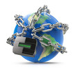 Enter password, earth globe with chain and lock