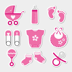 Baby girl design icons