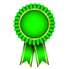 Vector illustration of green badge with ribbon