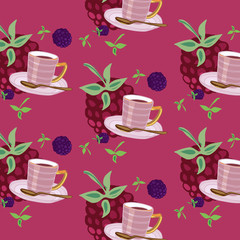 Beautiful rosy pattern with teacups and berries