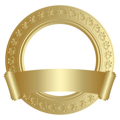 Golden circular frame with scroll