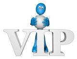 blue guy and the word vip