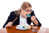 Woman eating drugs, tablets and pills