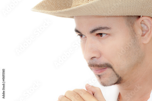 Man portrait close-up solitude  praying white background