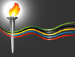 Torch with the colors of the five continents.