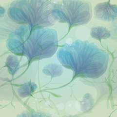Blue wild roses in the morning dew / Seamless flower background