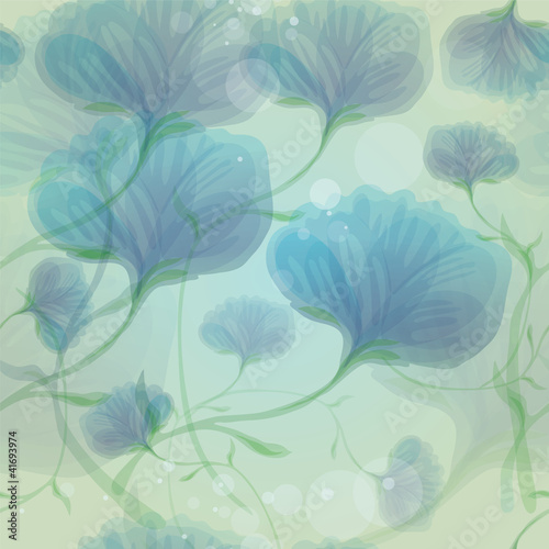 Tuinposter Abstract bloemen Blue wild roses in the morning dew / Seamless flower background