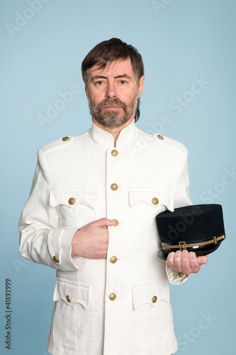 man in form officer with cap
