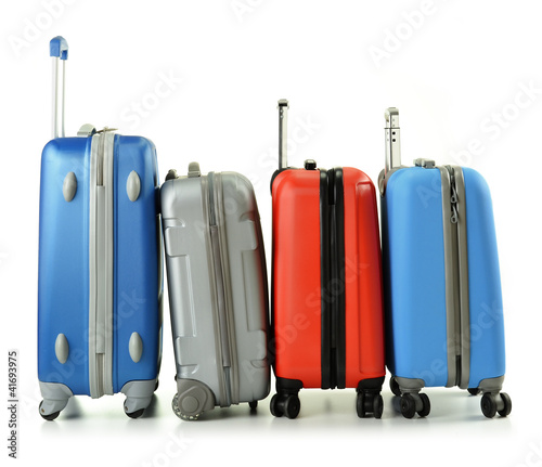 Luggage consisting of four suitcases isolated on white
