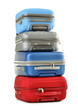 Luggage consisting of polycarbonate suitcases isolated on white