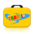 Travel suitcase isolated over white background