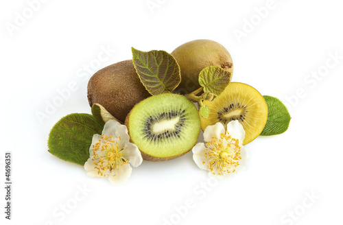 Green and golden kiwi fruit
