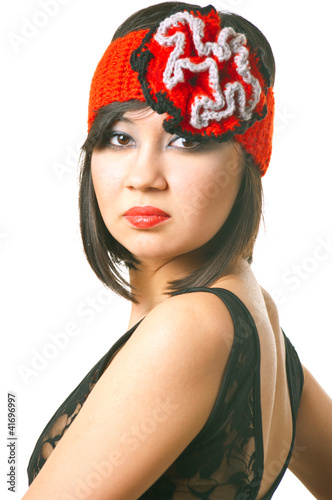 woman in the retro hat