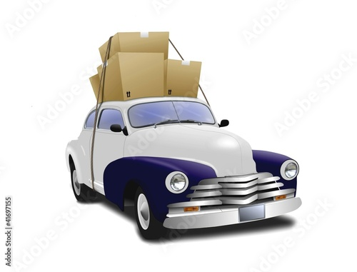 Car with boxes on top