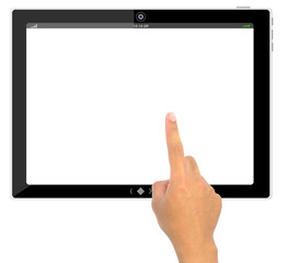 The best PC tablet computer and hand pushing a button on a touch